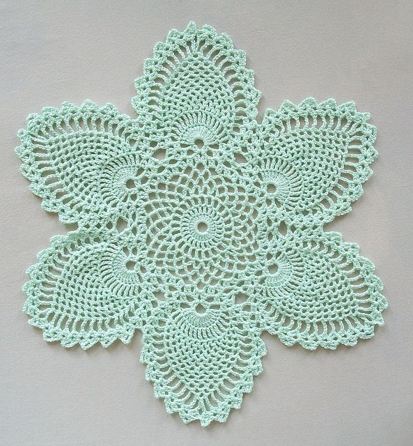 FREE PATTERN ~ @ http://www.ravelry.com/patterns/library/pineapple-doily-7768-a ~ This pattern is from the 1946 FREE PATTERNS ~ @ http://www.crochetmastery.com/dldctr/Runners2.pdf ~ Coats and Clark's crochet book Pineapple Designs. It's the bread-and-butter doily from the pineapple place settings. ~ Crochet Doily with Pineapple Motifs in by Acadian Crochet