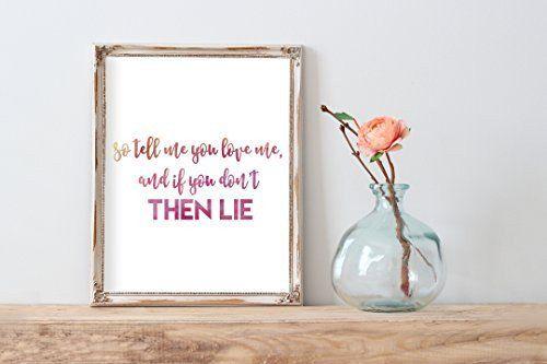 True Love Coldplay Lyrics Watercolor Print   Wall Decor