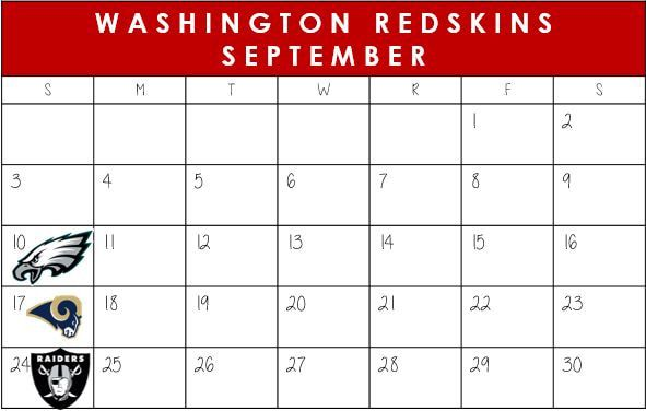 Washington Redskins September Schedule 2017  #WashingtonDC #Redskins #NFLSchedule #JordinsTurf