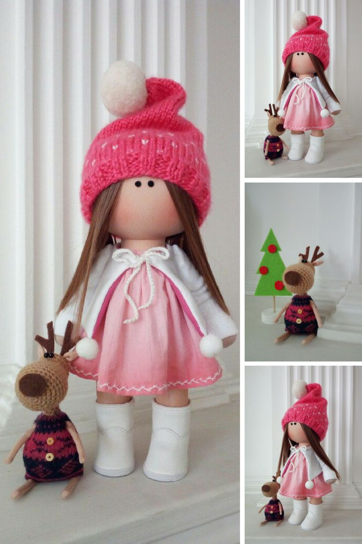 Soft Textile Doll Love Winter Doll Poupée Cloth Rag Doll Red Nursery Doll Christmas Baby Room Handmade Doll Fabric Tilda Doll by Olga K  Doll can be a great present for your children, family members, colleages or friends.  Style of doll easily helps to use such doll as home decoration and interior design.
