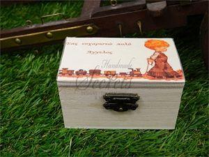 μπομπονιέρες βάπτισης αγόρι ξύλινο κουτάκι vintage συνδυασμένες και με τα…