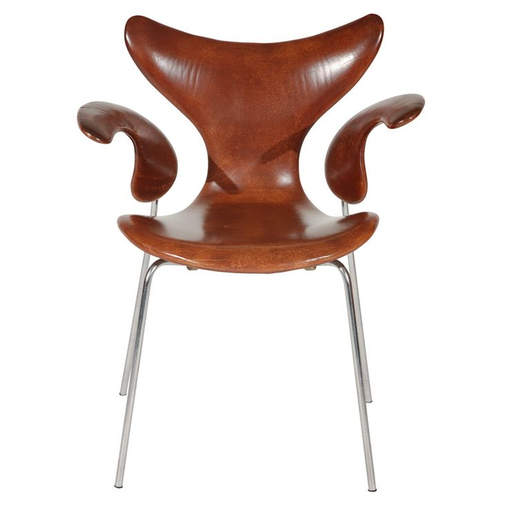 "Arne Jacobsen ""Seagull"" Chair  Denmark  1960s  Beautiful original ""Seagull"" chair by Arne Jacobsen for Fritz Hansen with beautiful brown dyed leather and chrome frame. Gorgeous curved lines - classic design.    Not a re-issue."