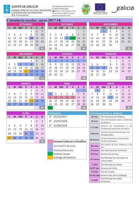 Calendario Escolar Xunta.Calendario Escolar Curso 2017 18 Aprobado Polo Consello Escolar X