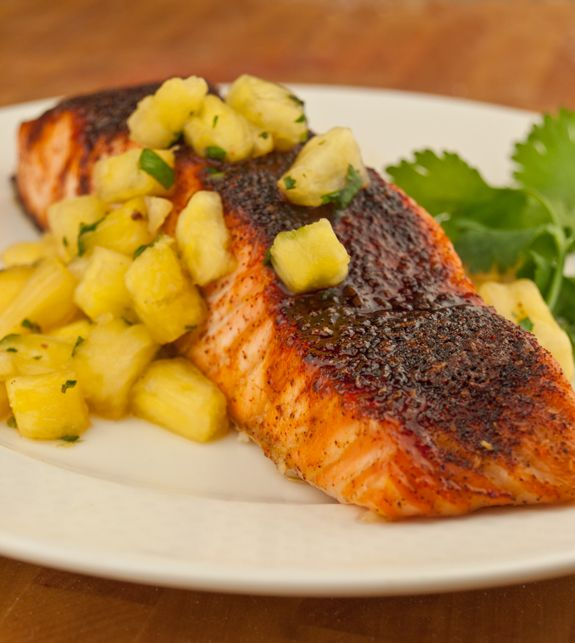 maple gazed salmon with pineapple salsa