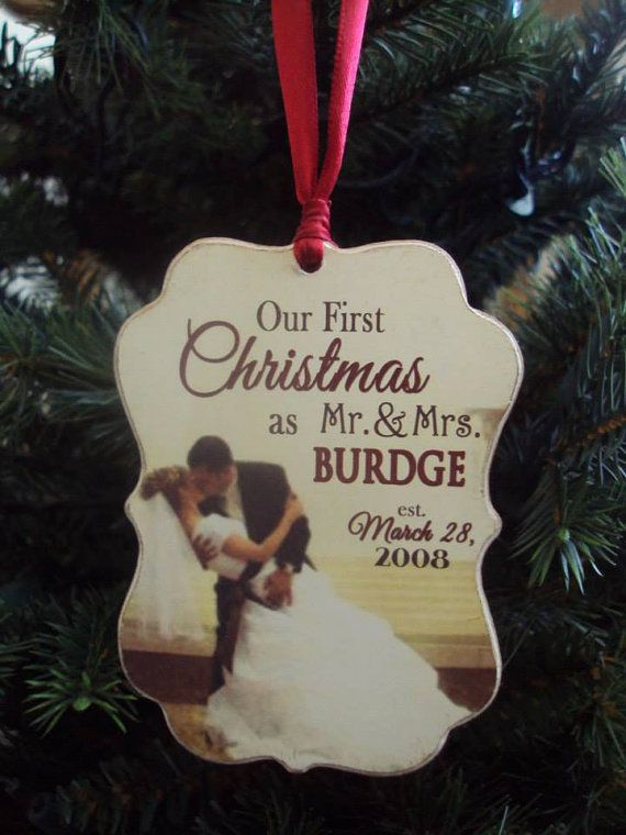Our First Christmas Ornament, Anniversary, Couple's, Newlyweds Wooden Christmas Ornament, Wedding Ornament, Personalized with Photo Ornament on Etsy, $20.00