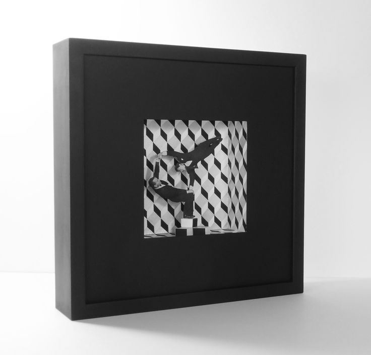 Dino&Elvi Flamini I.Collage i acrílic sobre cartró. 30x30x7cm.