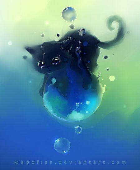 Petit chat trop chou sur une planète