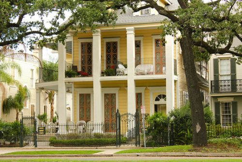 Southern home with wide two story porches and lots of for Plantation columns