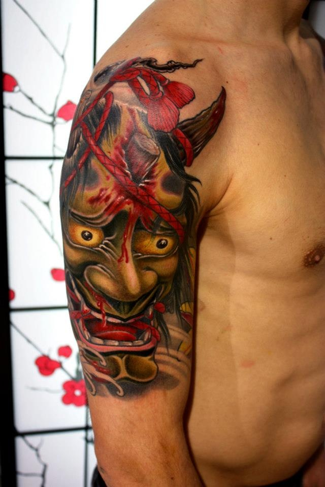 That's one hell of a awesome hannya tattoo ! Done by Kostas Dzikalagias at Dirty Roses Tattoo Studo, Greece. #tattoo #tattoos #ink