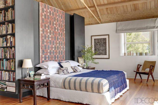 Nigerian indigo fabric tops a Greek bedcover in the master bedroom.