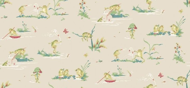 Resort Frogs (T16065) - Thibaut Wallpapers - A cute wallpaper design featuring stylized frogs, participating in various activities such as fishing and tennis. Shown here in various colours on a taupe background. Other colourways are available. Please request a sample for a true colour match. This is an American wallcovering and will take between 7-10 working days for delivery. Wide width product.