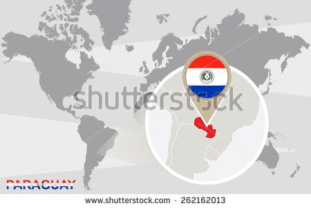 World map with magnified Paraguay. Paraguay flag and map.