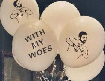 Drake Balloons with my woes by PartyEverydayDeco on Etsy