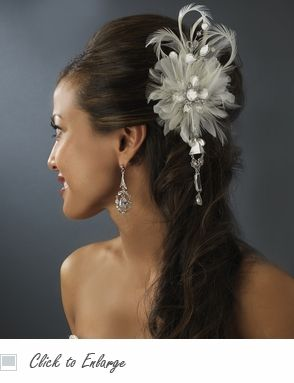 Elegant Vintage Bridal Feather Hair Fascinator with Dangling Crystals