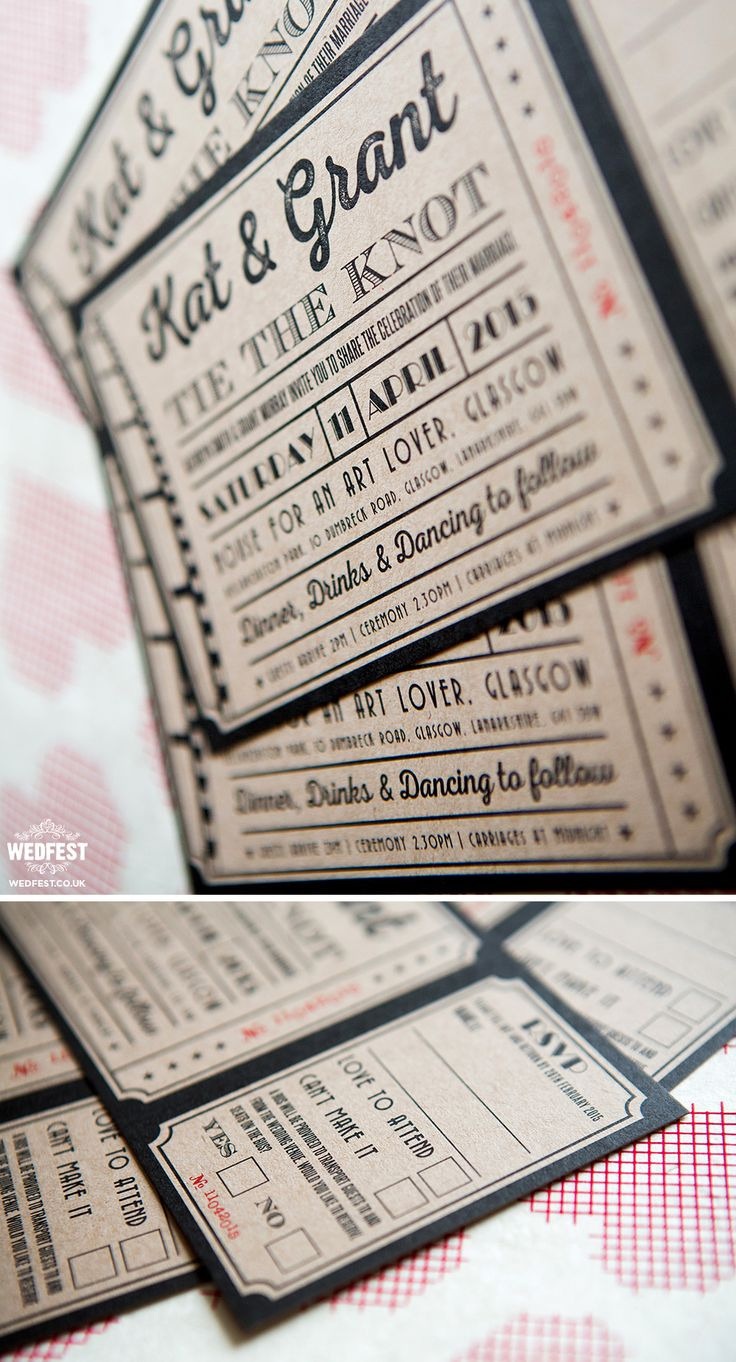 wedding invitations templates uk%0A kraft card ticket wedding invitations