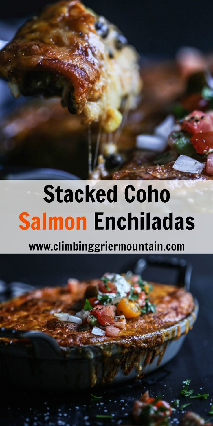 Stacked Coho Salmon Enchiladas
