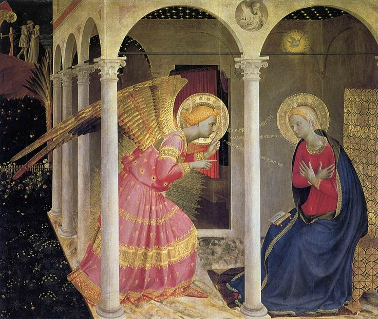 Fra Angelico's Annunciation. Notice how his use of color brings out the details of the story: Adam and Eve in darkness and sin being banished from the Garden of Eden, Mary in her traditional blue, and the Angel Gabriel accented in heavenly gold. (Image credit: Web Gallery of Art)