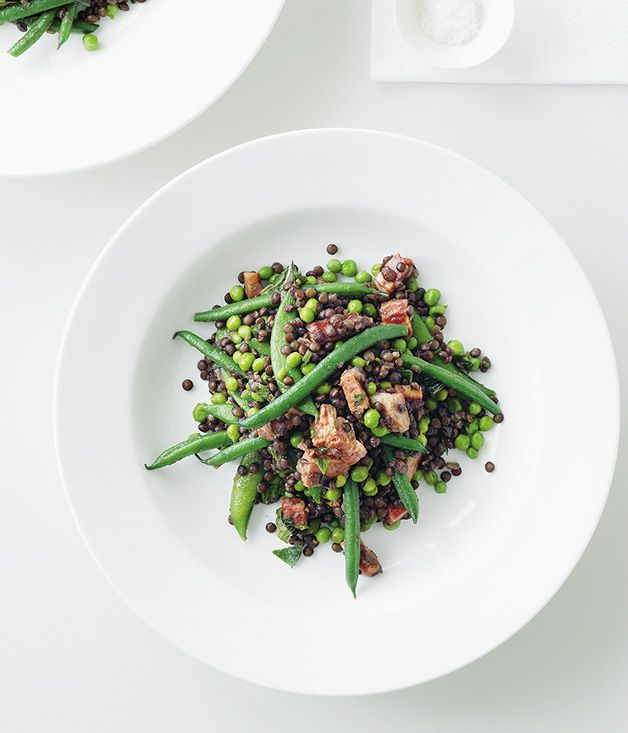 Pancetta, pea, lentil and mint salad