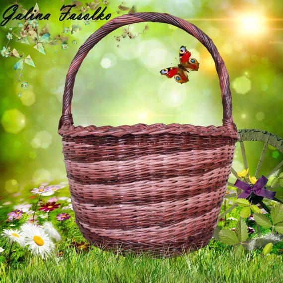 Wicker basket/Classic Wicker Basket/Basket with handle/Large