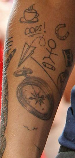Louis Tomlinson tattoos. love silly fun tattoos collages like this...