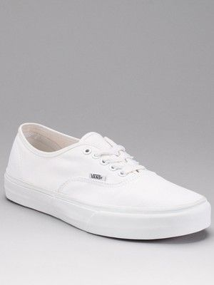 Vans Mens Authentic Plimsolls - White, http://www.very.co