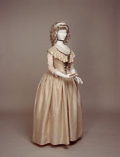 """1780-1790 pink silk dress (1947.1610) Pattern available in Janet Arnold's """"Patterns of Fashion 1: Englishwomen's Dresses  Their Construction C. 1660-1860"""""""