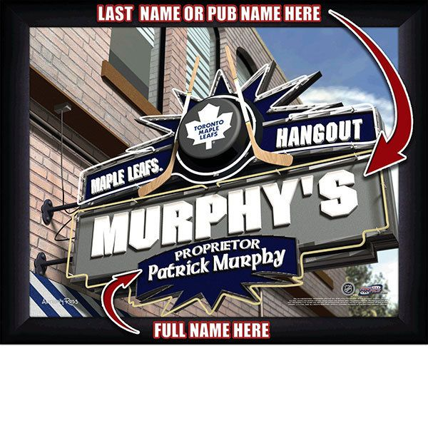Toronto Maple Leafs NHL Hockey - Personalized Toronto Maple Leafs Pub Hangout Print / Picture. Now, with our Personalized NHL Sports Pub Hangout Print, your favorite fan can become the Proprietor of THEIR OWN Sports Bar! This exciting gift is perfect for any NHL hockey fan. Optional framing with mat is available. Perfect for gifts, rec room, man cave, bar, office, etc.  (http://www.oakhousesportsprints.com/toronto-maple-leafs-pub-hangout-print/)
