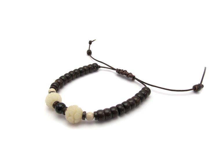 Tagua noot leren armband Witte Lotus Met de hand uitgesneden tot kunstwerkjes