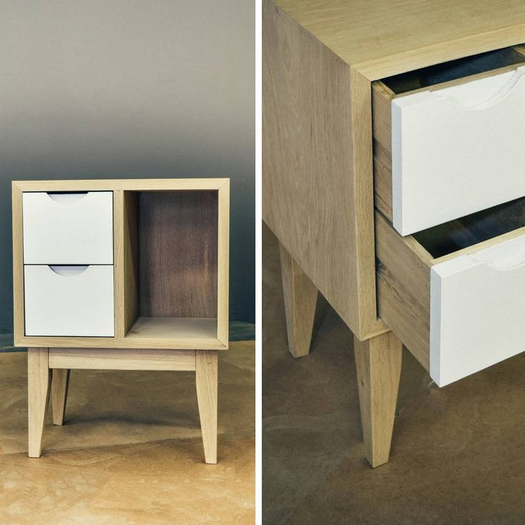 Custom contemporary design bedside pedestals in French Oak made by Pierre Cronje Fine Furniture