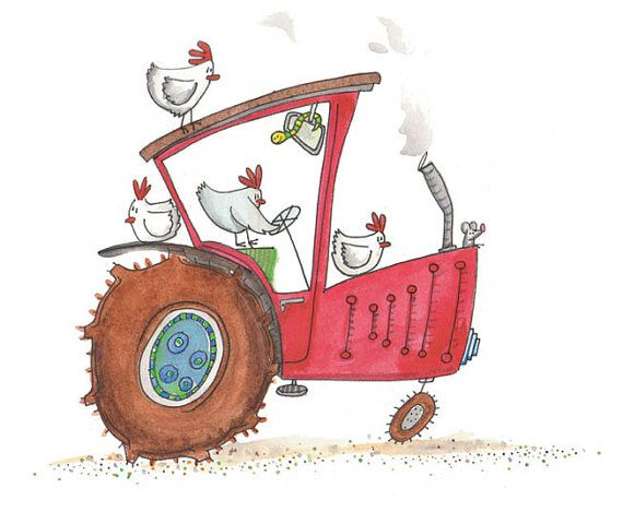 Childrens wall art - red tractor - farm animals - chooks driving tractor on Etsy, $20.00 AUD