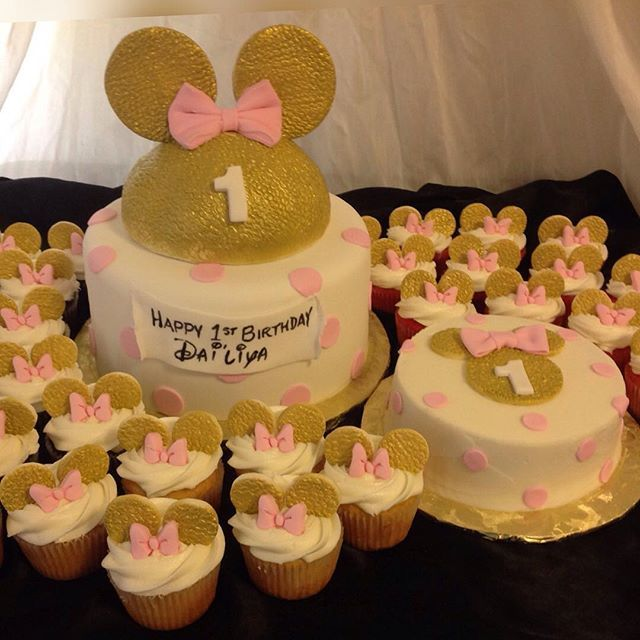Mulpix Gold Pink And White Minnie Mouse Themed 1st