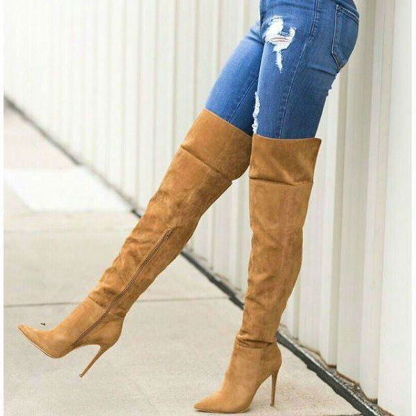 Women's Fall and Winter Fashion Thigh High Boots Outfits Winter Outfits 2017 Street Style Outfits Winter Cold 2017 Brown Suede Slouch Long Boots Pointy Toe Stiletto Heels Boots Holdiday Party Outfit For Work Bucket List For Christmas, Formal Event, Party, Date, Big day, Going out | FSJ #stilettoheelsboots #highheelbootsstilettos