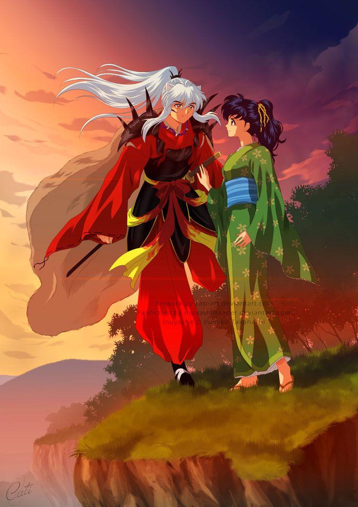 Commission - Daiyoukai Inuyasha and Kagome by *Cati-Art on deviantART