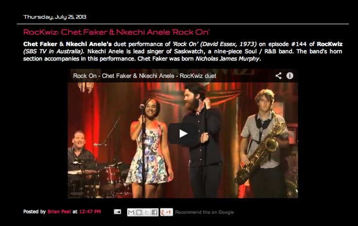 Some love from The Aussie Word http://www.theaussieword.com/2013/07/rockwiz-chet-faker-nkechi-anele-rock-on.html