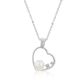Pearl Cubic Zirconia Heart Pendant