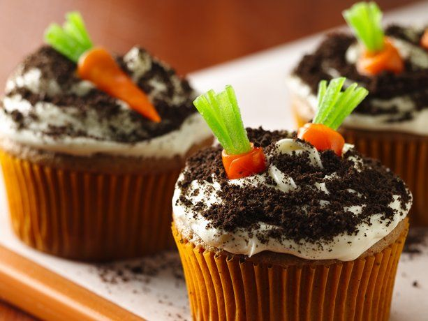 Carrot Cake Cupcakes - top with fruit snack carrots.  How cute is this I ask you?
