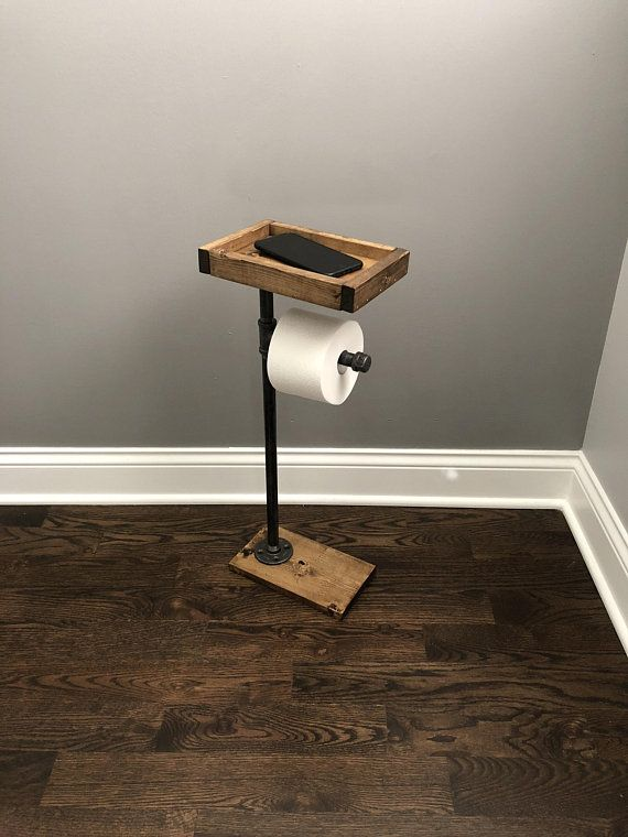 Toilet Paper Stand With Basket Shelf, Floor Stand TP Holder, Paper Dispenser, Ru…   – Bathroom