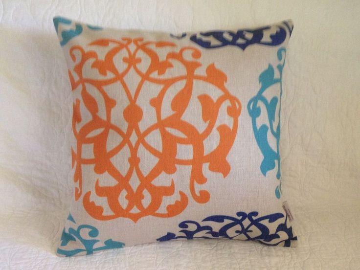 Cotton Linen Blend Cushion Cover Pillow Shell Orange Blue 45cm x 45cm $30