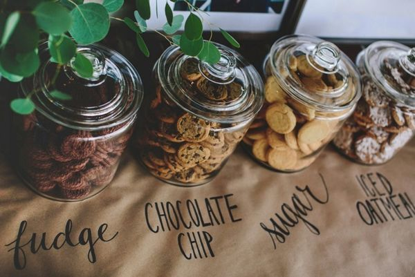 Offering cookies may seem offbeat, but done the right way, it can be pretty perfect. Make sure you offer a good variety and that you present your cookies in a nice way (either in baskets or on decorated platters). For some added fun, put signs out that let your guests know the groom's favorite and the bride's favorite.