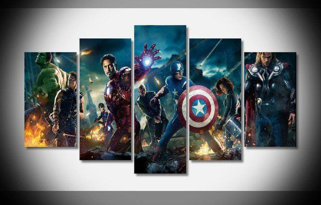 Style Your Home Today With This Amazing 5 Panel Framed Avengers Wall Art Canvas For $114.00  Discover more canvas selection here http://www.octotreasures.com  If you want to create a customized canvas by printing your own pictures or photos, please contact us.