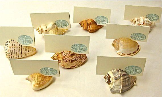 Cartes de table 10 détenteurs de cartes de coquillage - mariages de plage, douches de plage, les coquillages plage dîners, marque-places, dessert