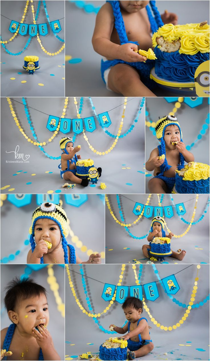 Minion Themed 1st birthday backdrop cake smash