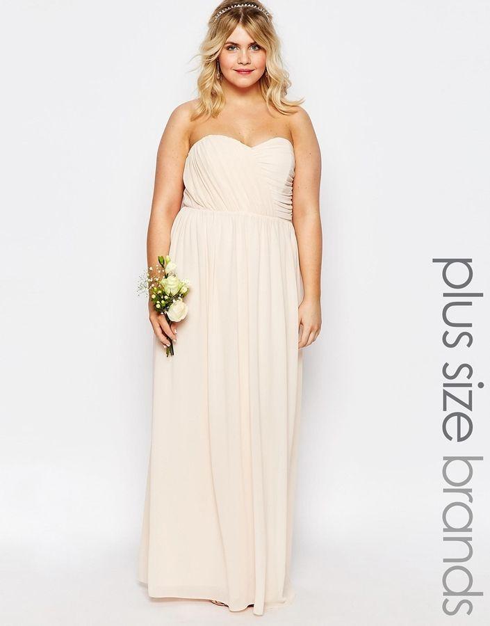 Tfnc plus wedding bandeau chiffon maxi dress reception for Maxi dress for wedding reception