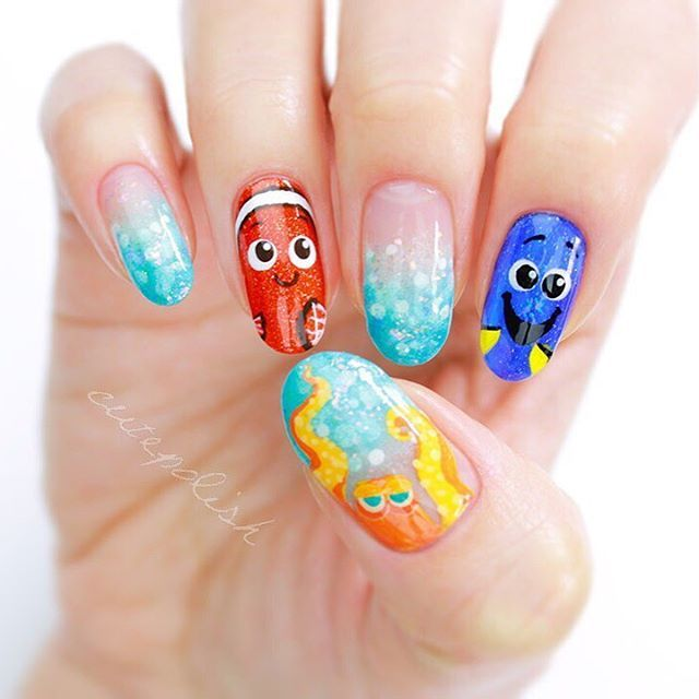 NEW VIDEO: Finding Dory Nails in celebration of the new movie that his theatres this weekend!!  Link to video in bio!  QOTD: Who is your favourite character from the movie? Dory, Nemo, or someone else?