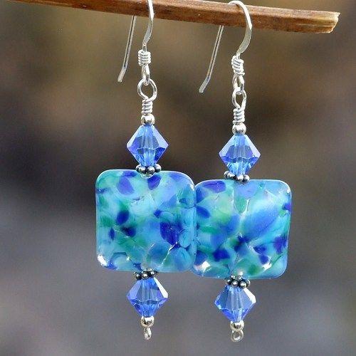 RESERVED. Blue Lampwork Handmade Earrings Swarovski OOAK Jewelry | ShadowDogDesigns ArtFire Gallery