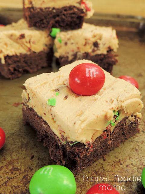 Peanut M&M's Buckeye Bars- soft chocolate cake bars topped with a peanut buttery fudge and Peanut M&M's