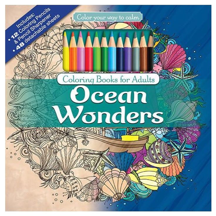 Ocean Wonders Adult Coloring Book Set With Colored Pencils And Pencil Sharpener Included Color Your Way To Calm Music By Newbourne Media
