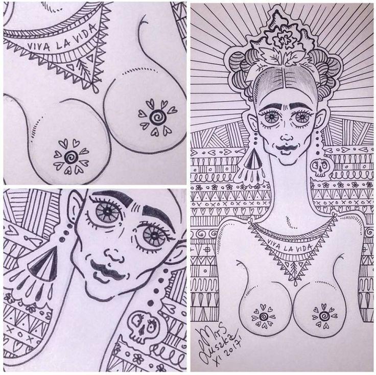 Frida Kahlo mi amor. Frida inspired me. #fridakahlo #ilovefridakahlo #vivalavida #doodleart #fridakahlodoodle