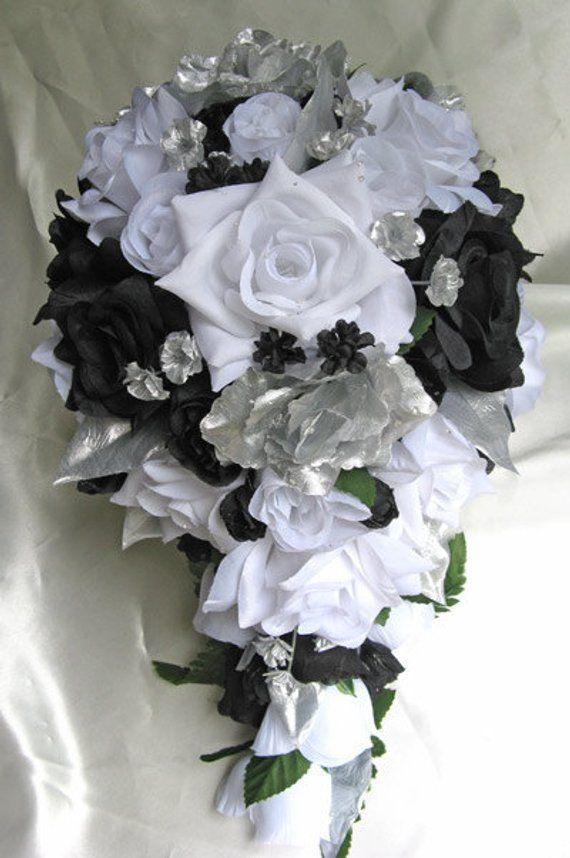 Wedding Bouquet Bridal Silk Flowers Cascade Black Silver White 21