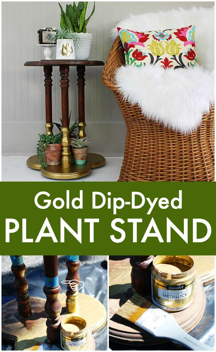 Create this project with Americana Decor® Metallics™ — Add a touch of metallic to a lovely plant stand using DecoArt Decor Metallics!